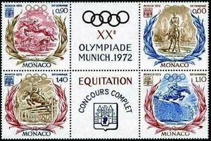 MONACO-STAMP-TIMBRE-890-893-034-JEUX-OLYMPIQUES-1972-EQUITATION-034-NEUFS-xx-LUXE