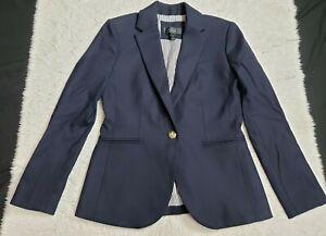 J Crew Women's Blazer Wool Elastane Navy Blue Gold Buttons Military Size 2P