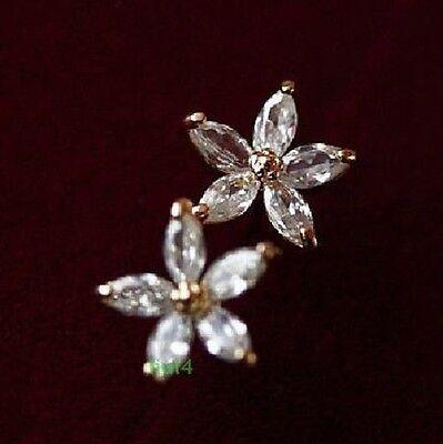 18K Rose Gold Plated Crystal White Flower Stud Earrings