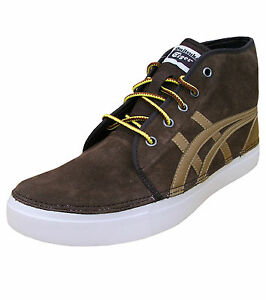 Asics MEN'S Onitsuka Tiger Claverton Medio in Pelle Scamosciata Retro Scarpe da ginnastica Brown UK 7