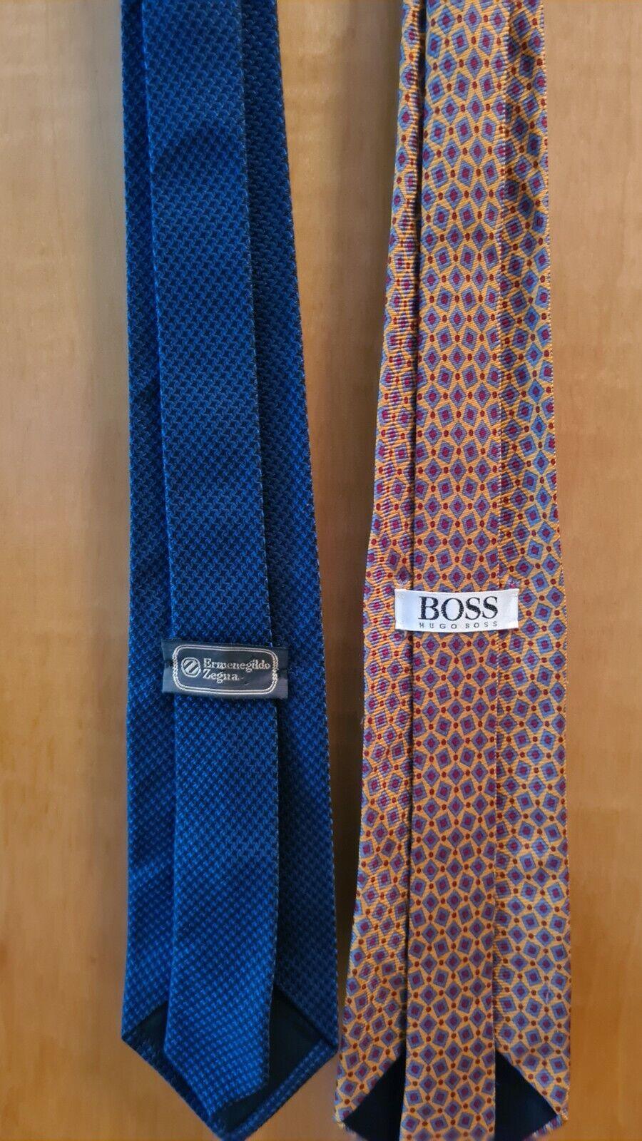 2 Luxus vintage Krawatten BOSS & ZEGNA mit geometrischen Muster Schlips Seide