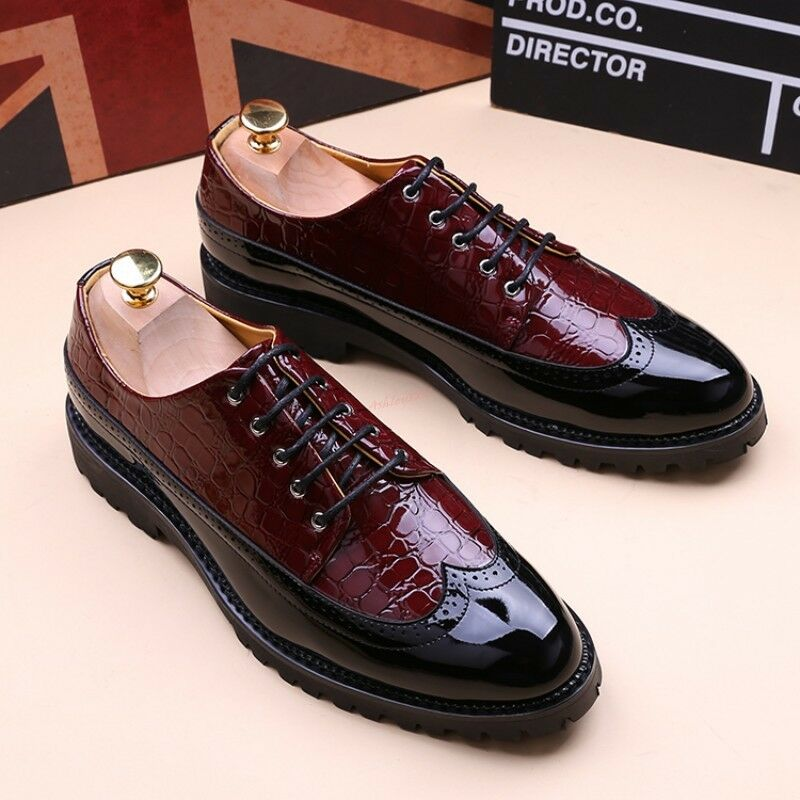 Uomo Vintage Carved Brogue Oxfords Formal Shoes Wing Tip Lace up Dress Pumps Hot