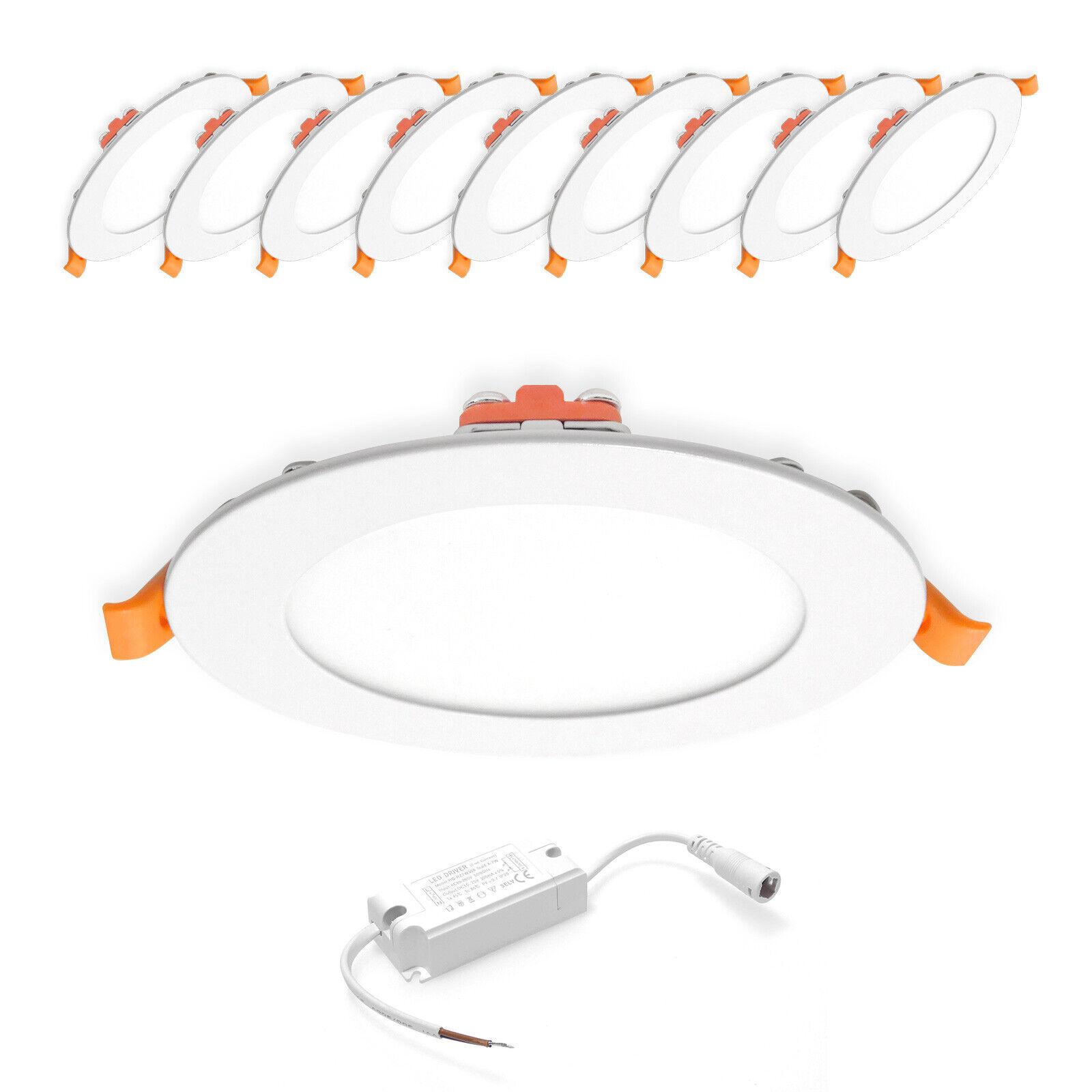 10x 6W LED Panel Rund Einbaustrahler Einbauspot Warmweiß Ø120mm AC230V weiß