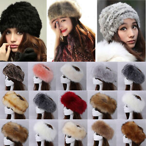 Women Russian Thick Fluffy FAUX Fur Headband Hat Winter Ear Warmer ... a4e5caeffa7