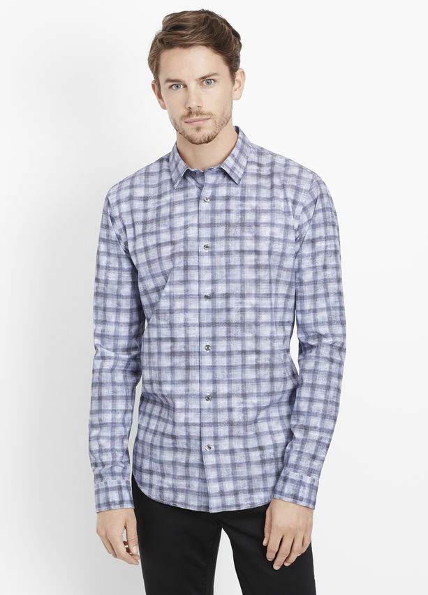 VL009 NWT VINCE MELpink MULTI PLAID BUTTON DOWN MEN PRINT SHIRT SIZE L