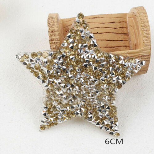Rhinestone Star Patch Embroidered Iron On Patches Applique Fabric Badge Sticker