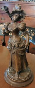 Antique-Newel-Post-Lamp-French-Woman-Patinated-Spelter-Small-as-is