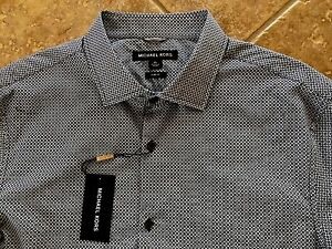 Michael-Kors-Button-Down-Casual-Shirt-Mens-XL-Black-Geo-Print-Slim-Fit-NWT-145