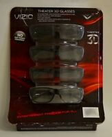 Vizio XPG204 Passive Black 3D Glasses 4 Pack Battery-Free Lightweight