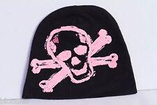 Pinkaxle Black Baby Beanie Hat w/ Pink Skull & Crossbones size 2T-4T