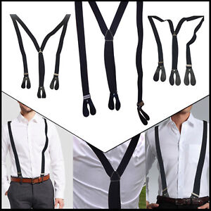 Black-25mm-Elastic-Mens-Unisex-Braces-Suspender-Adjustable-Trousers-Button-Hole