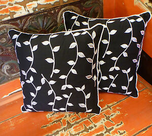 Cotton-Cushion-Covers-Black-White-Hand-Made-Vines-Embroidery-pair-40cm