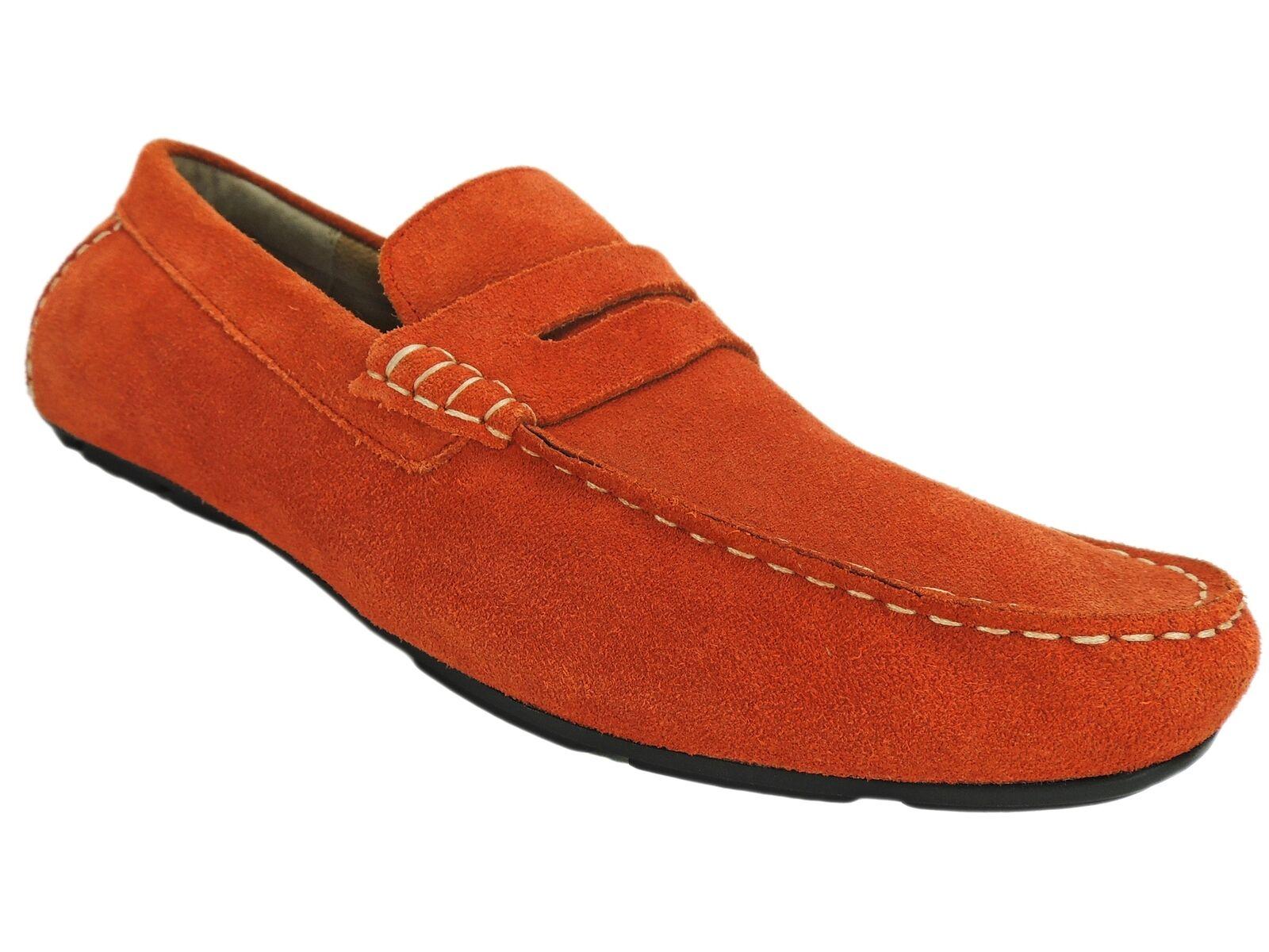 Alfani Men's Sal Suede Penny Drivers orange Crush Size 13 M