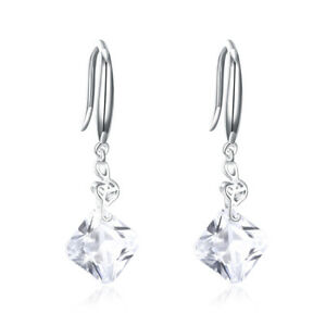 Silver-5ct-Asscher-Cut-Cubic-Zirconia-Dangle-Earrings