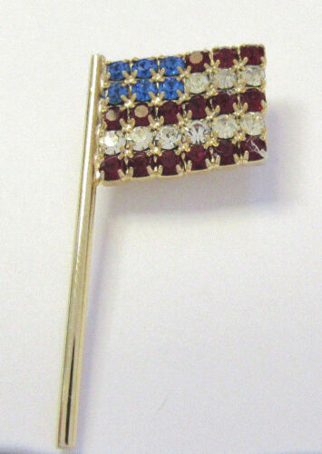 VINTAGE 1960s 70s AMERICAN FLAG CRYSTALS RED WHITE