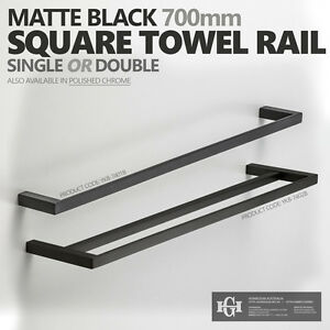 Modern Square Matte Black 700mm Single Or Double Towel Rail Bathroom Accessories
