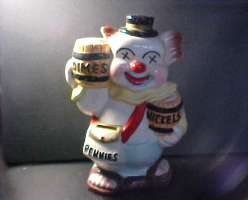 1968 MADE IN JAPAN DIMES, NICKELS, PENNIES CLOWN COIN BANK!R Y176XX