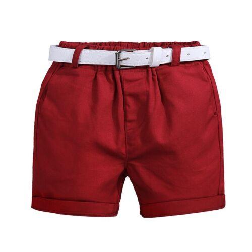 3pcs Kids Baby Boys Summer Fashion Suit Short Sleeve Floral Blouse+Shorts+Belt