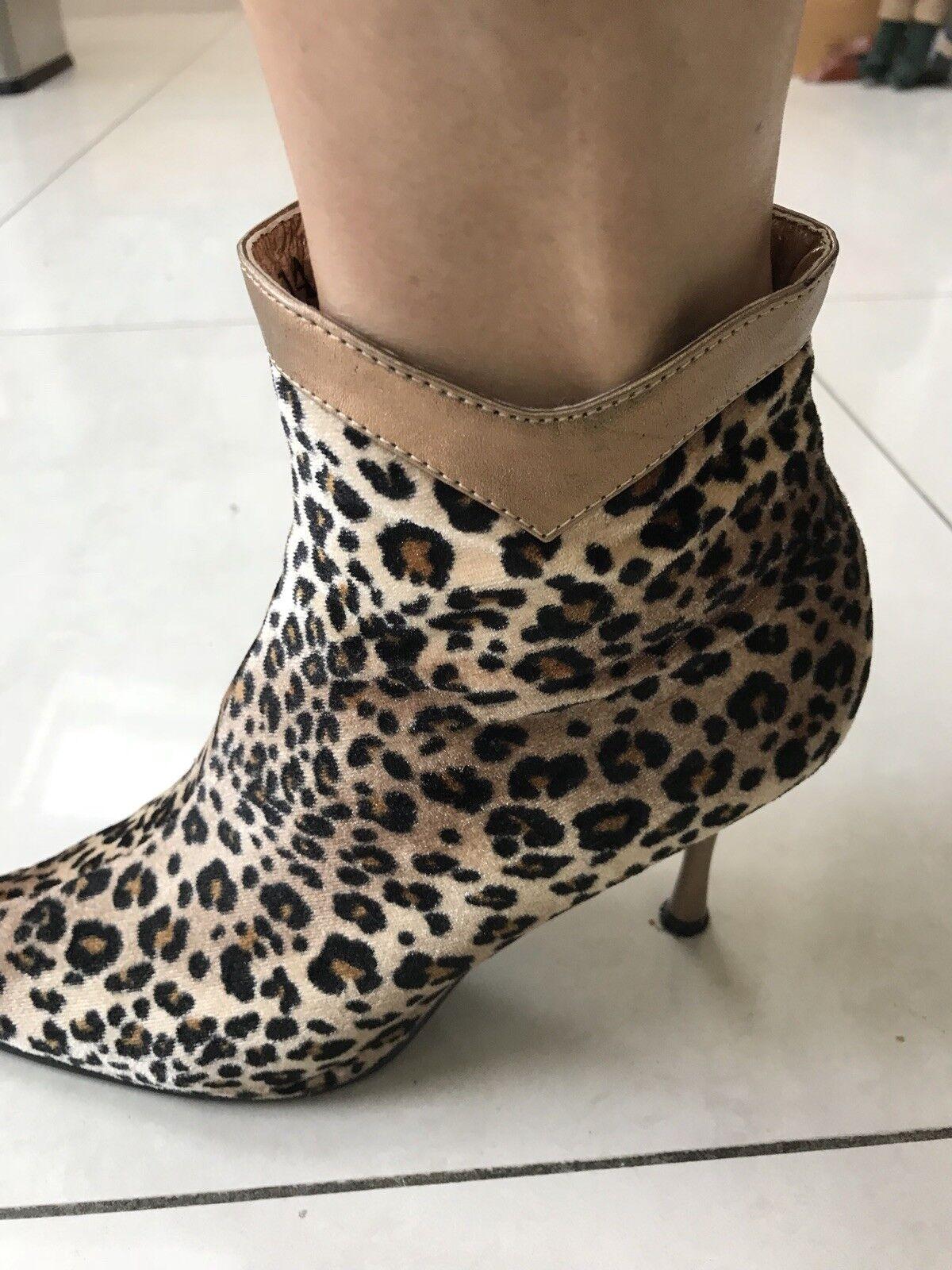 Chiara Velvet Leopard Print Stiletto Boot 40 Größe 40 Boot cf0a9a