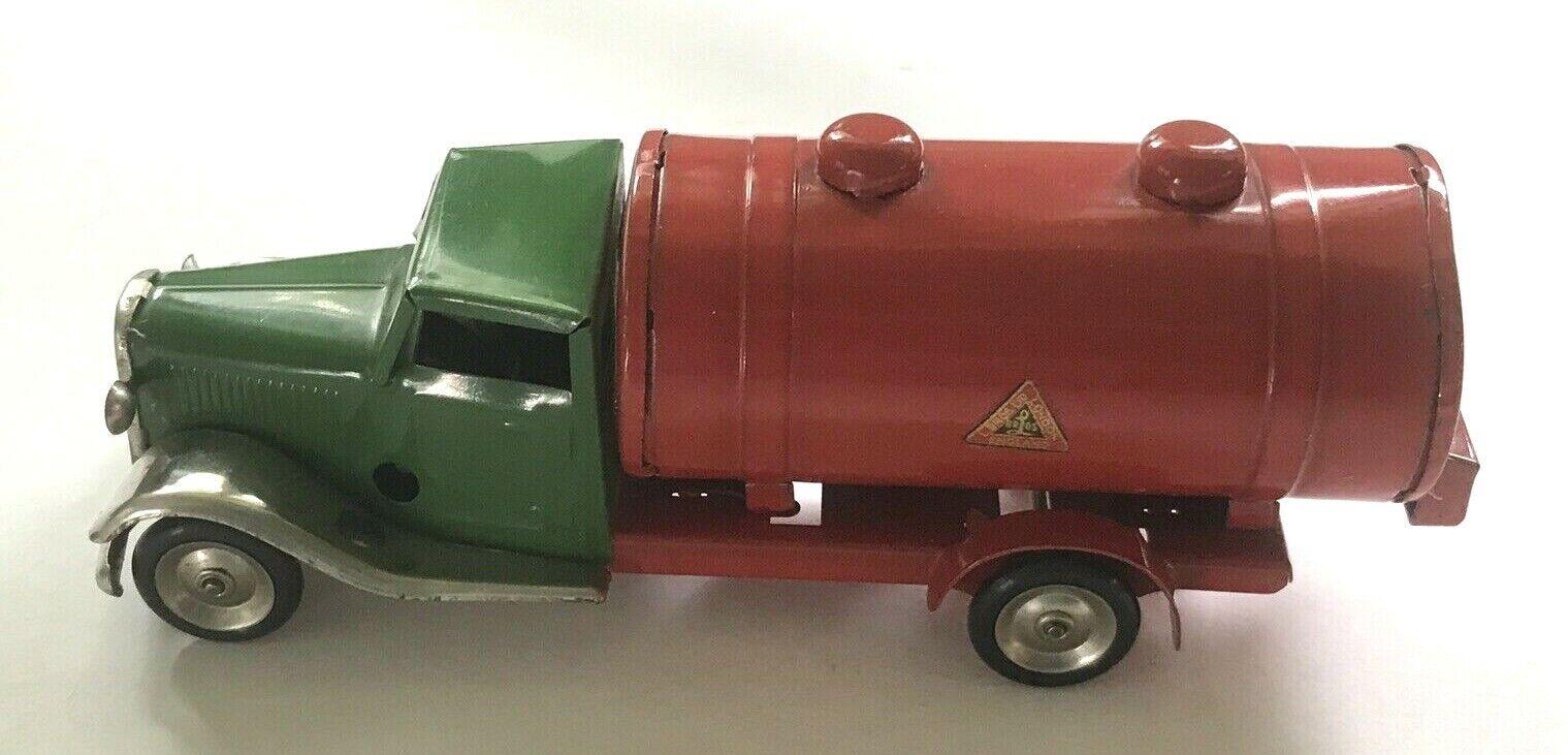 årgång TIN leksak TRYCK TRI-ANG MINIC-PETROL TANK LORRY TRYCK-15M-KEY WIND-40's