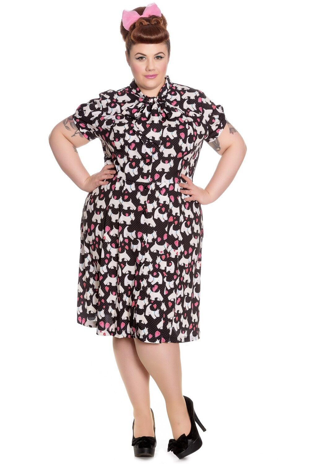 Hell Bunny Aggy Scottie Scottish Terrier & Hearts Midi Dress With Pleated Skirt