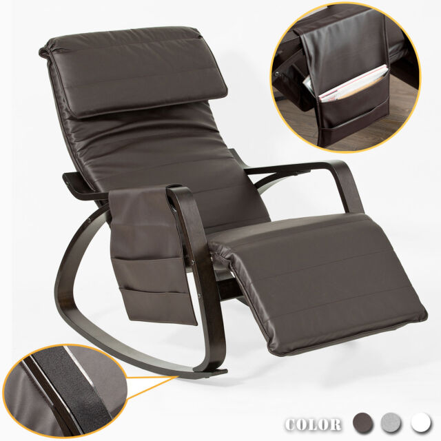 online store c1096 fff29 SoBuy PU Leather Rocking Armchair Lounge Chair With Footrest Fst20-br UK