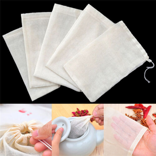 10Pc 8x10cm Large Cotton Muslin Drawstring Reusable Bags for Soap Herbs Tea new~