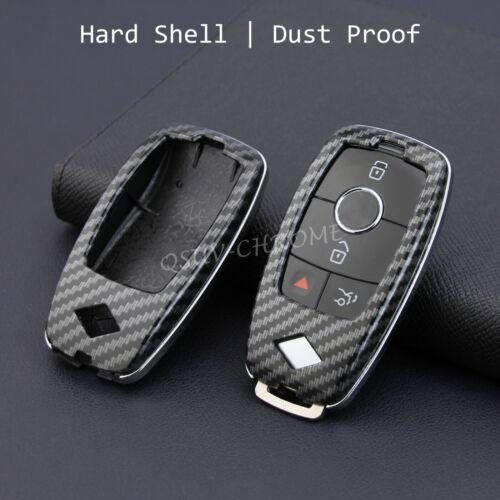 Carbon Fiber Hard Shell Smart Key Case Fob Chain Cover FOR Mercedes-Benz A B C E