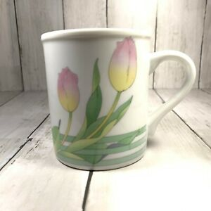 Vintage-The-Toscany-Collection-Coffee-Mug-Cup-Pink-Yellow-Tulips-Buds-Japan