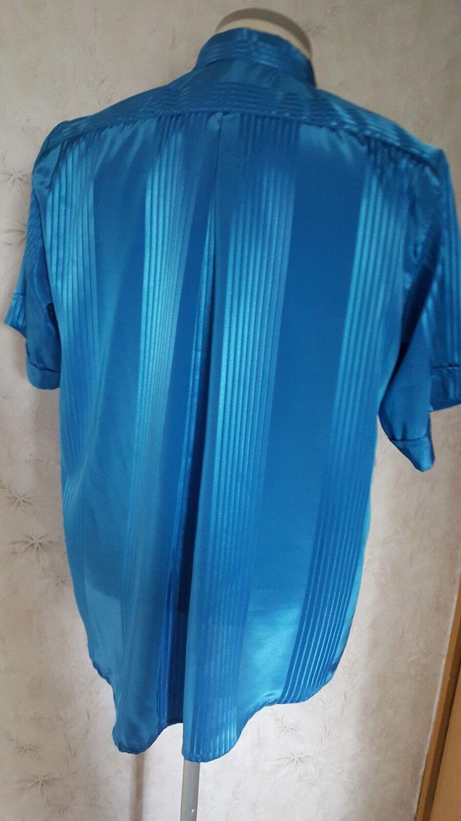 Long Blusa, Blusa, Blusa, Camicia da donna, taglia XL, Blu glitzerstoff b13517