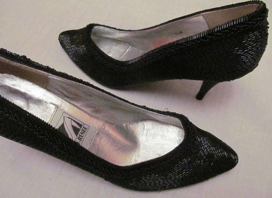 J RENEE fully beaded noir evening wearable art pumps vintage chaussures 7.5 N
