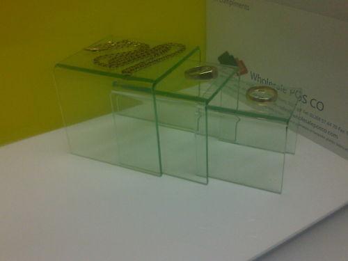 3 TIER DISPLAY STEPS RISERS IN GLASSLOOK TINTED ACRYLIC PERSPEX