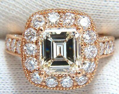 GIA 5.37CT EMERALD CUT DIAMOND RING 18KT BRIDAL ANNIVERSARY HALO CLUSTER █ █