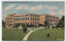 GREENVILLE SENIOR HIGH SCHOOL~SC~LINEN POSTCARD~WORLD WAR 2 free frank