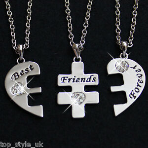 New-3-Part-Best-Friends-Necklace-Jewellery-RRP-49-Bestfriends-Gift-Present-Heart
