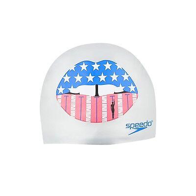 SPEEDO Silicone KISS MY LANE Cap Swim Lanes SwimCap Pool Competition 7510245