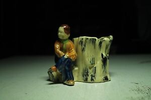 vintage old art pottery planter pencil/pen holder sitting man tree stump rock