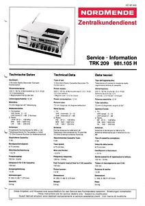 Tv, Video & Audio Service Manual-anleitung Für Nordmende Discocorder Rk 4186 981.115 H