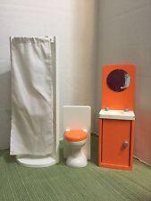 GORGEOUS Kidkraft Wooden Barbie Doll Bathroom Furniture Shower Toilet Vanity