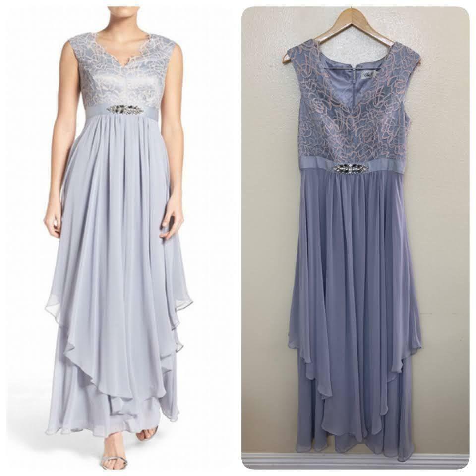 Eliza J Embellished Lace & Chiffon Gown Size 10 Silver V Neck Cap Sleeve