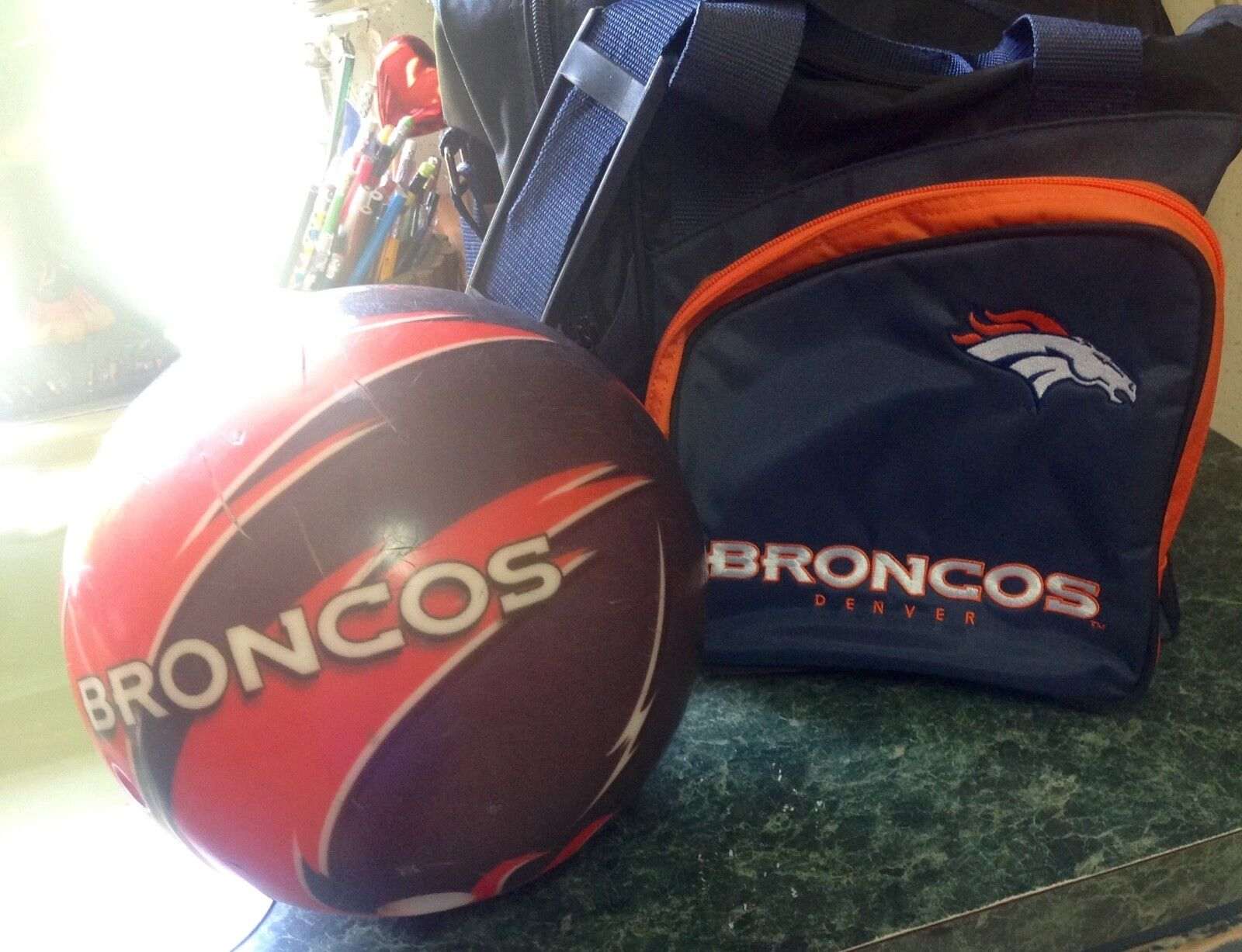 Denver Broncos NFL Viz-A-Ball Bowling Ball + Broncos Bowling Bag Set RARE