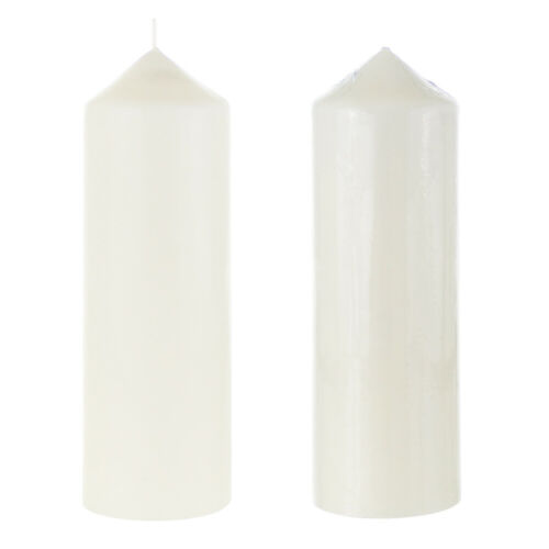 """Mega Candles Ivory 6PCS Unscented 3/""""x 9/"""" Round Dome Top Pillar Candle"""