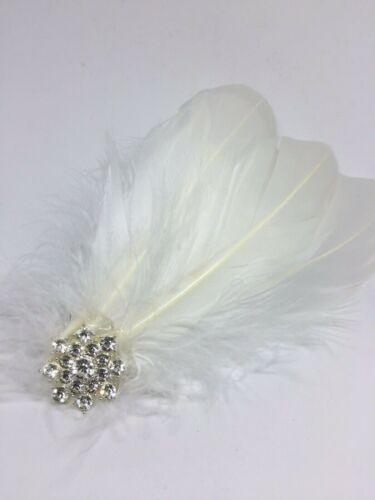 Silver White Feather Diamante Headpiece  Hair Clip Vintage Wedding