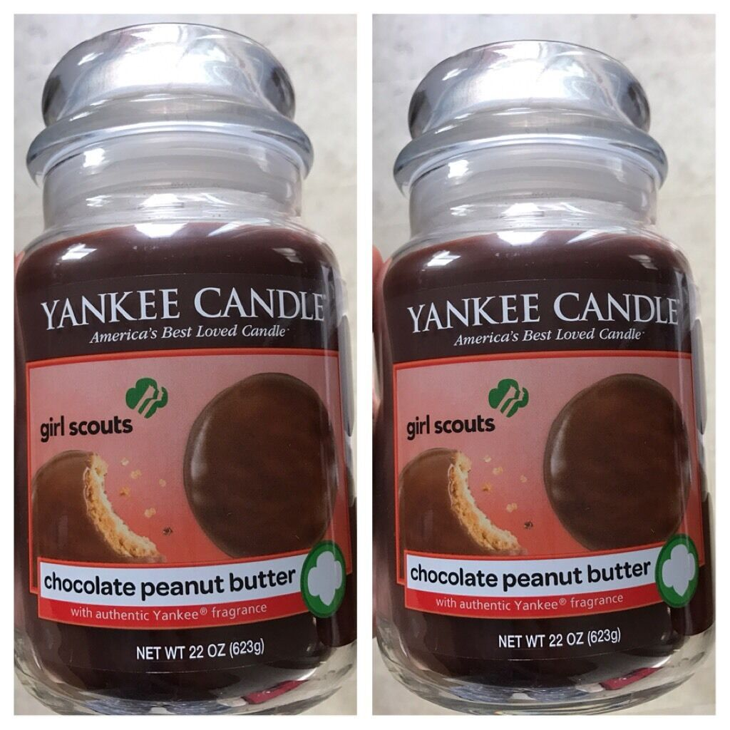 CHOCOLATE PEANUT BUTTER   SET OF 2- NEW YANKEE CANDLE LARGE JARS 22OZ