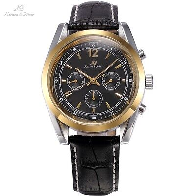 KS Imperial Gold Black Date Day Leather Wrist Automatic Mechanical Men Watch