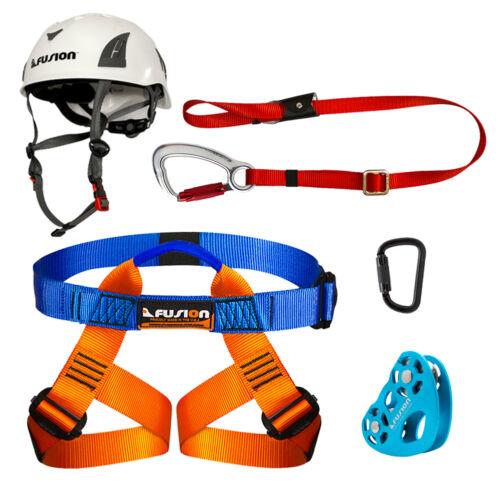 Fusion Kids Backyard ZipLine Kit Harness Lanyard Trolley Carabiner Helmet Bundle