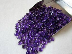 Wholesale-Lot-of-6X6-mm-Round-Cabochon-Natural-Purple-Amethyst-Loose-Gemstone