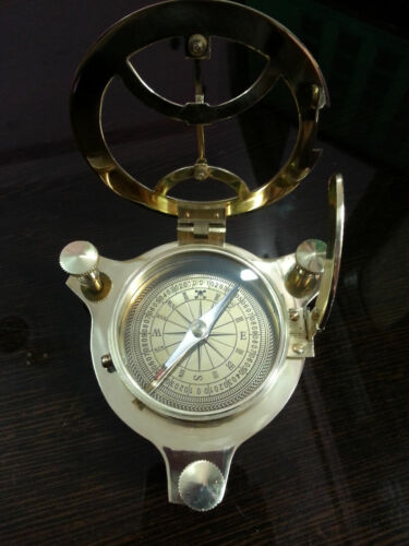 Solid Brass Vintage Marine Handmade Pocket Nautical Sundial Compass Royal Item.