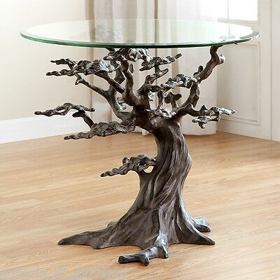 "Coastal Artistic Cypress Tree Glass Accent  Table Sculpture  21.5""H 24""W 24""D"