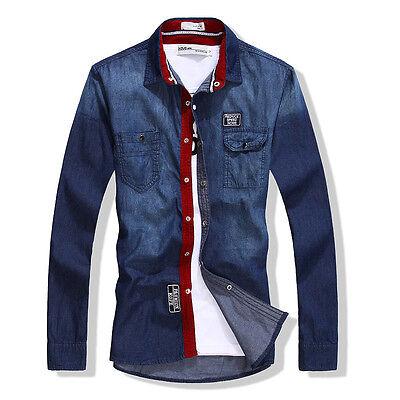 5230 New top Fashion Men's Casual Luxury Stylish Washed Slim Fit Denim Shirts